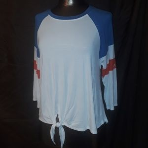 Miss Chievous Jr. Athletic Tie Front Top Blue Red